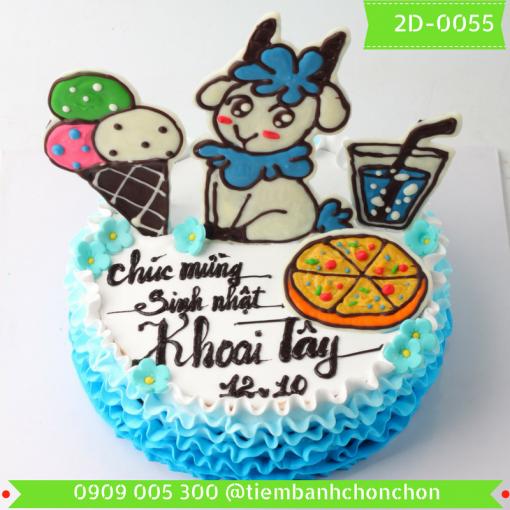Bánh kem vẽ 2D 0055