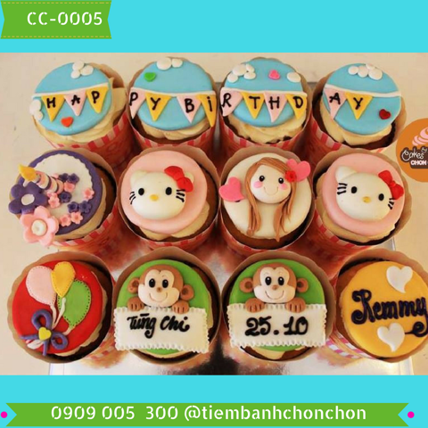 Bánh CupCake Fondant Dễ Thương dành Cho Bé MS CC-0005