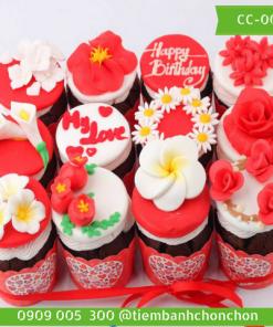 Bánh CupCake FonDant Hoa Dễ Thương MS CC-0012