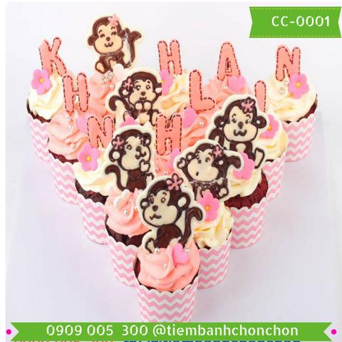 Bánh CupCake Khỉ Dễ Thương Dành Cho Bé Gái Tuổi Khỉ MS CC MS-0001