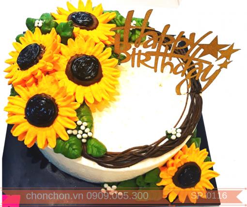 Bánh Kem Bắt Hoa Hướng Dương Dễ Thương Dành Cho Bạn Gái Thích Hoa MS SP-0116