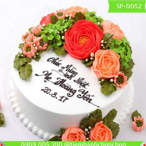 Bánh kem bông kem hoa hồng tặng Mẹ hoặc tặng bánh sinh nhật vợ  hoặc tặng bạn gái  MS 0052