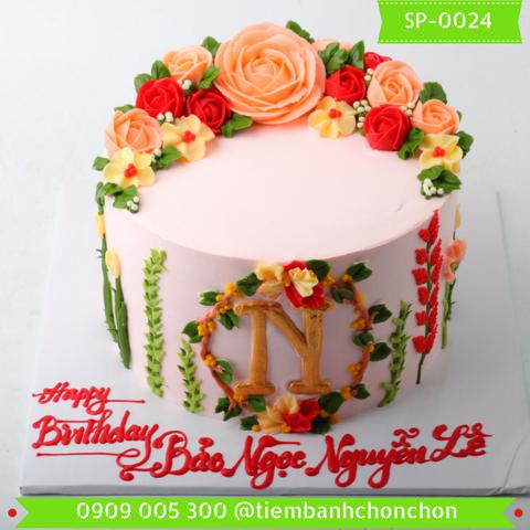 Bánh Kem Cao Bắt Hoa Hồng Dễ Thuơng MS SP-0024