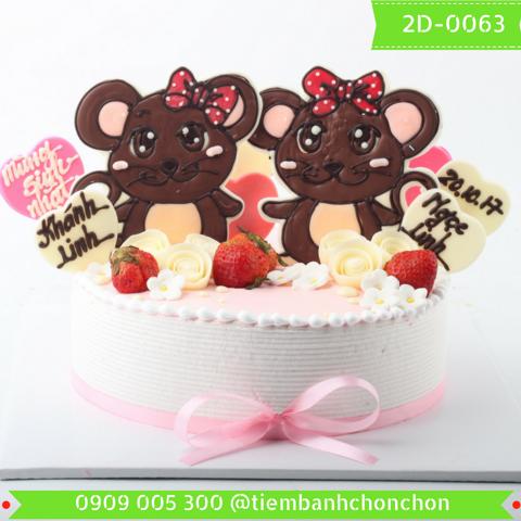 Bánh Kem Dành Cho Bé Gái Tuổi Chuột Dễ Thương MS 2D-0063