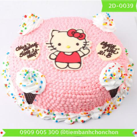 Bánh Kem Dễ Thương Dành Cho Bé Gái Hình Mèo Kitty MS 2D-0039