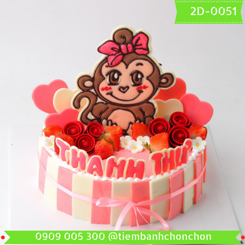 Bánh Kem Dễ Thương Dành Cho Bé Gái Tuổi Khỉ MS 2D-0051