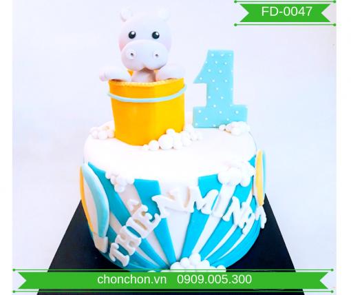 Bánh Kem FonDant Dễ thương Hình Con Hà Mã MS FD-0047