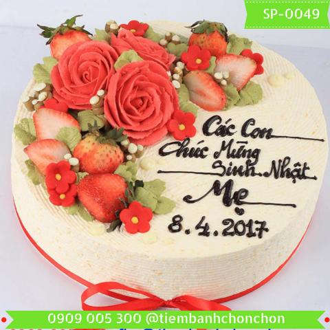Bánh Kem Mừng Sinh Nhật Mẹ Bắt Hoa Hồng MS SP-0049