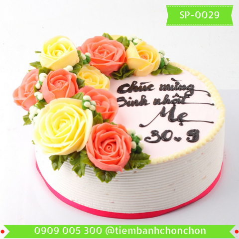 Bánh Kem Sinh Nhật Bắt hoa Hồng Dễ Thương MS SP-0029