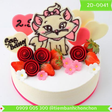 Bánh Kem Sinh Nhật Dành  Cho Bé Gái Dễ Thương Tuổi Mèo MS 2D-0041