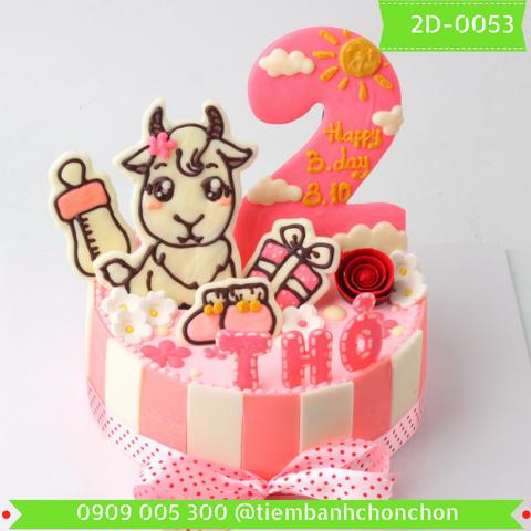 Bánh Kem Sinh Nhật Dành Cho Bé Gái Tuổi Dê Dễ Thương MS 2D-0053
