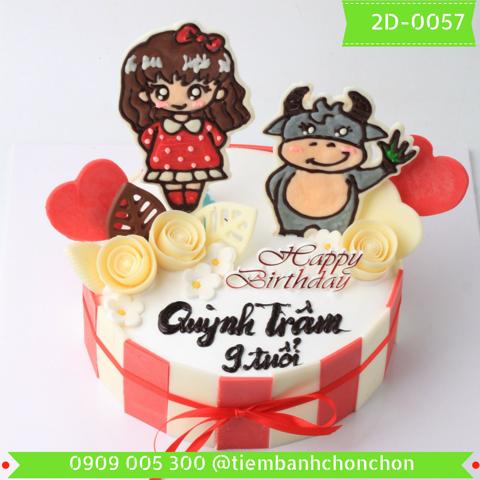 Bánh Kem Sinh Nhật Dành Cho Bé Gái Tuổi Trâu Dễ Thương MS 2D-0057
