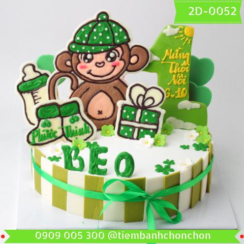 Bánh Kem Sinh Nhật Dành Cho Bé Tuổi Khỉ Dễ Thương MS 2D-0052