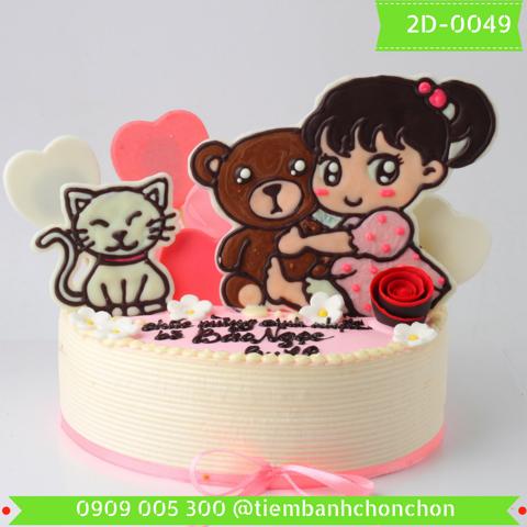 Bánh Kem Sinh Nhật Dễ Thương Dành Cho Bé Gái MS 2D-0049
