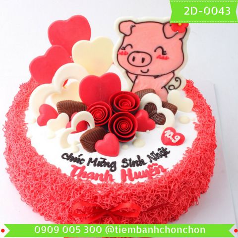 Bánh Kem Sinh Nhật Dễ Thương Dành Cho Bé Gái Tuổi Heo MS 2D-0043