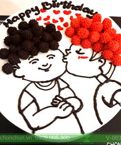 Bánh Kem Sinh Nhật Vẽ Cặp Đôi Dễ Thương MS V-0014