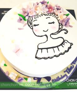 Bánh Kem Sinh Nhật Vẽ Cô Gái Dễ Thương MS V-0021