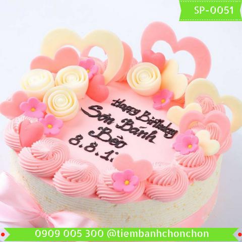 Bánh Kem Trang Trí Dễ Thương Đợn Giản Dành Cho Bé Và Nàng Thích Màu Hồng MS SP-0051