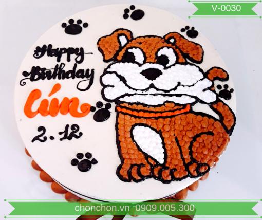 Bánh Kem Vẽ Chú Chó Dễ Thương MS V-0030