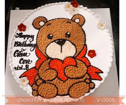 Bánh Kem Vẽ Dành Cho Bé Gái Thích Gấu Bông MS V-0006