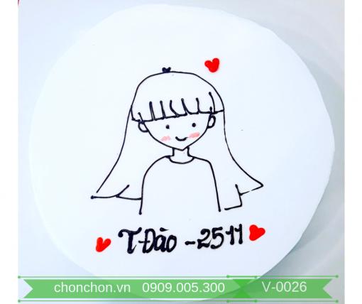 Bánh Kem Vẽ Đơn Giản Dễ Thương MS V-0026