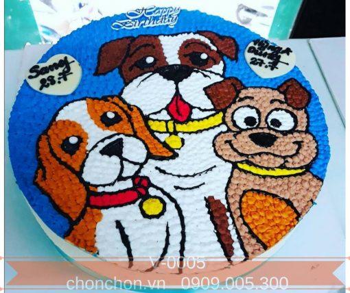 Bánh Kem Vẽ Hình Chú Chó Đáng Yêu MS V-0005