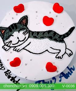 Bánh Kem Vẽ Hình Chú Mèo Dễ Thương MS V-0036
