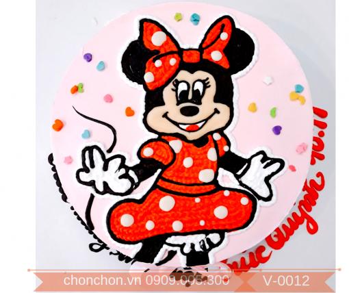 Bánh Kem Vẽ Hình Chuột MicKey Dễ Thương MS V-0012