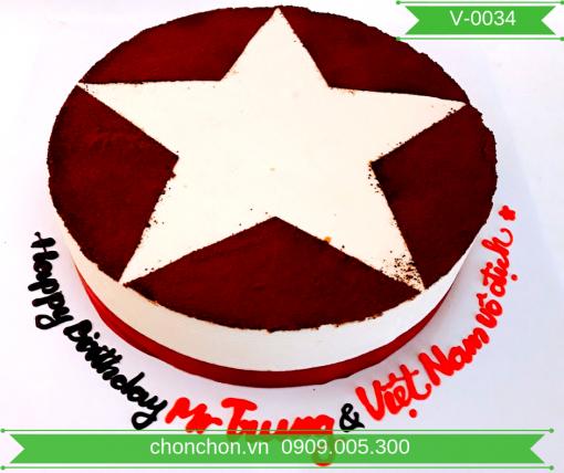 Bánh Kem Vẽ Hình Cờ Việt Nam Dễ Thương MS V-0034