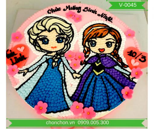 Bánh Kem Vẽ Hình Công Chúa Dễ Thương Cho Bé Gái MS V-0045