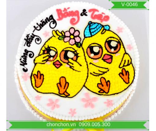 Bánh Kem Vẽ Hình Gà Dễ Thương Dành Cho Bé MS V-0046