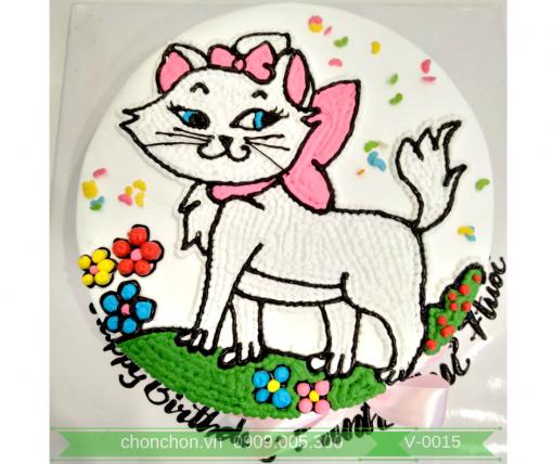 Bánh Kem Vẽ Hình Mèo Dễ Thương Dành Cho Bé Gái MS V-0015