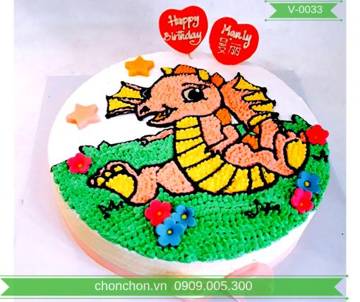 Bánh Kem Vẽ Hình Rồng Dễ Thương Cho Bé Gái MS V-0033