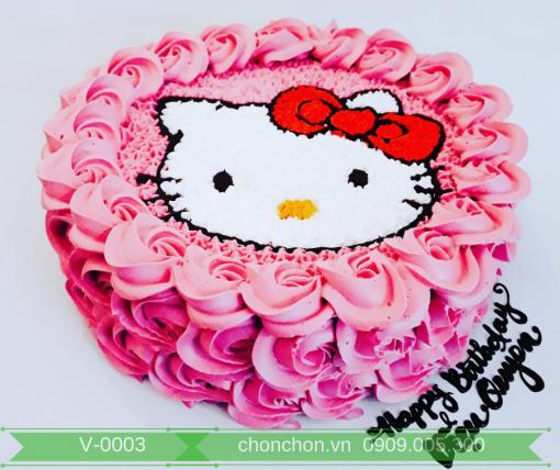 Bánh Kem Vẽ Mèo Kitty Dễ Thương Dành Cho Bé MS V-0003