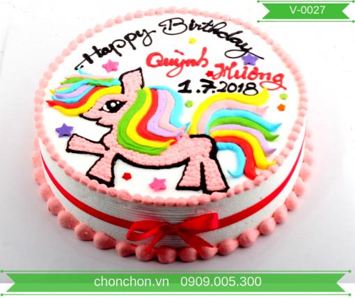 Bánh Kem Vẽ Ngựa Dễ Thương Dành Cho Bé Gái MS V-0027