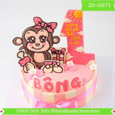 Bánh Sinh Nhật Dành Cho Bé Gái Tuổi Khỉ Dễ Thương MS 2D-0073