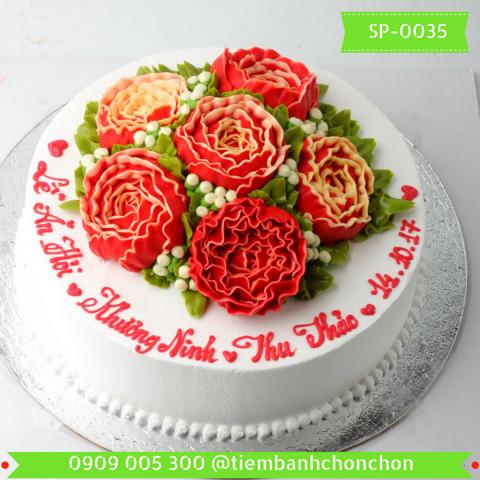 Bánh Sinh Nhật Dễ Thương Bắt Hoa Mẫu Đơn MS SP-0035