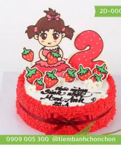 Bánh sinh nhật dễ thương cho bé gái bánh số MS 2D-0007