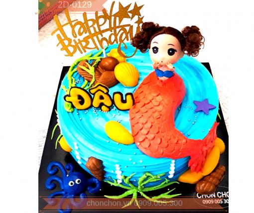 Bánh Sinh Nhật Dễ Thương Dành Cho Bé Thích Nàng Tiên Cá MS 2D-0129