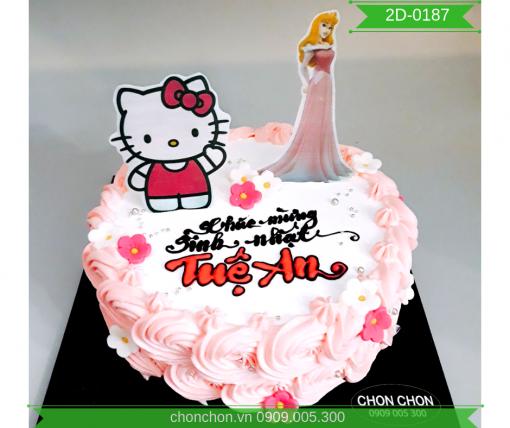 Bánh Sinh Nhật Hình Kitty Và Công Chúa Cho Bé Dễ Thương MS 2D-0187